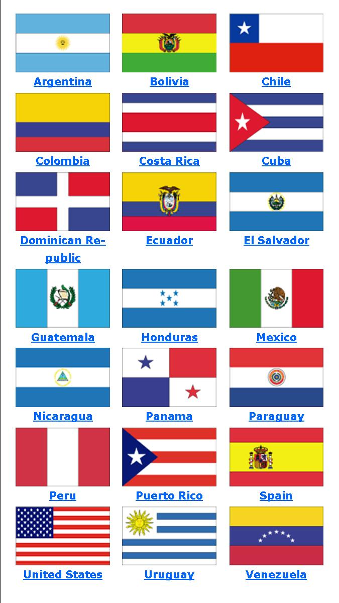 free hispanic countries coloring pages Hispanic Heritage Month Coloring Pages in Words  Hispanic Country Flags Coloring Pages